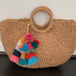 Basket Weave Handbag with Colorful Pompom Charm